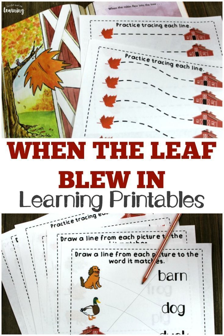 These When the Leaf Blew In printables are a fun way to extend this classic fall story with early learners! #learning #fall #education #homeschool #homeschooling #reading #autumn #kidsactivities