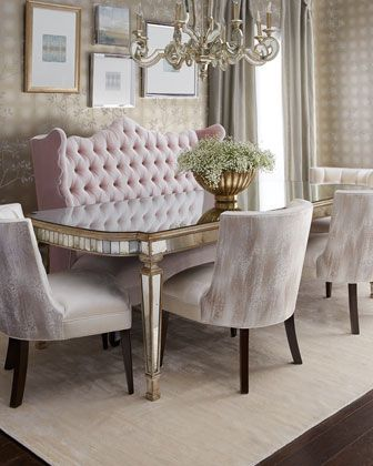 Eliza 72L Antiqued Mirrored Dining Table