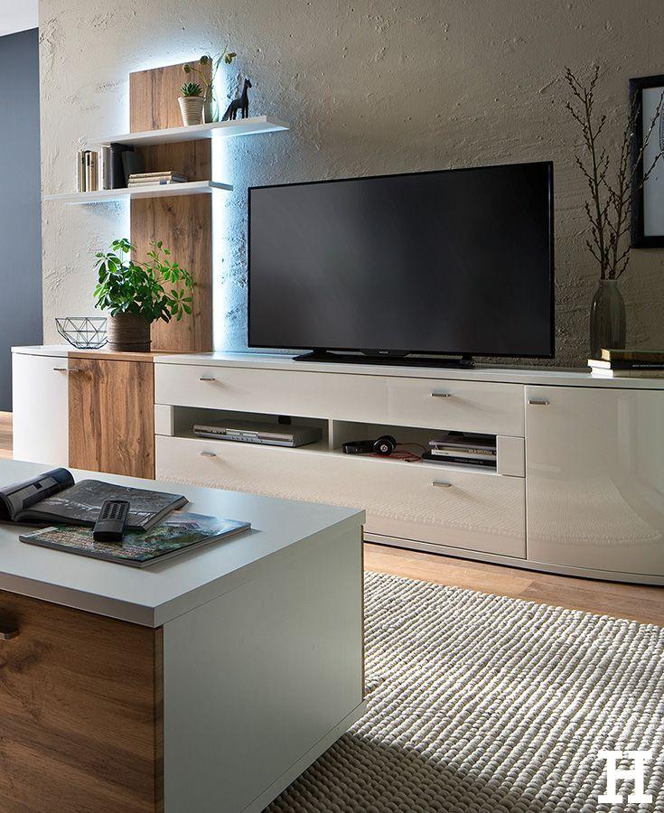 Die Schicke Wohnwand Livorno Besticht Durch Den Kontrast Aus Holz Und Hochglanz Optik Wohnzimmer Mobel Idee Einri Wohnen Wohnwand Einrichten Und Wohnen