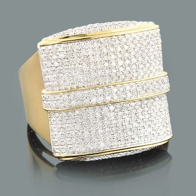 Hip Hop Rings Mens Gold Diamond Ring 132ct 10K Diamond Jewellery