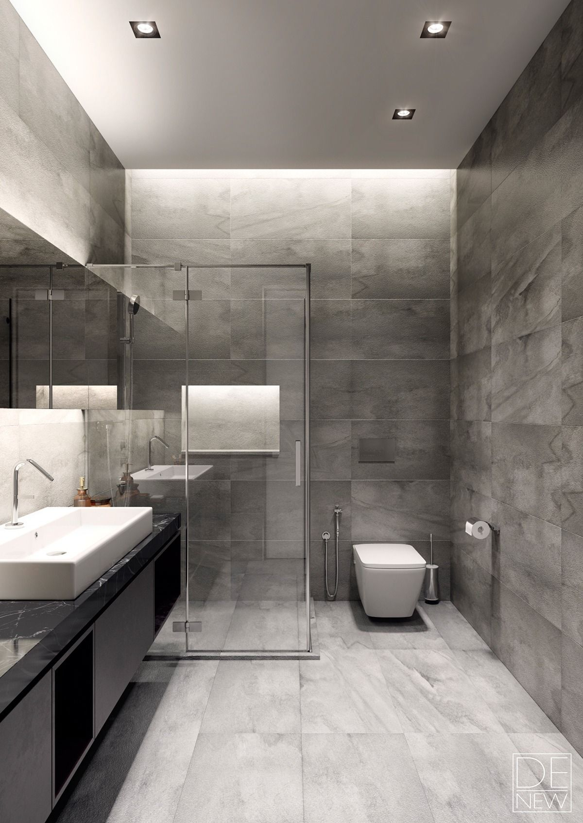 Two Apartments With Texture One Soft One Sleek Grey Bathrooms Designs Modern Bathroom Design Bathroom Design Small
