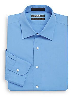 Saks Fifth Avenue Slim-Fit Cotton Dress Shirt - French Blue - Size 1