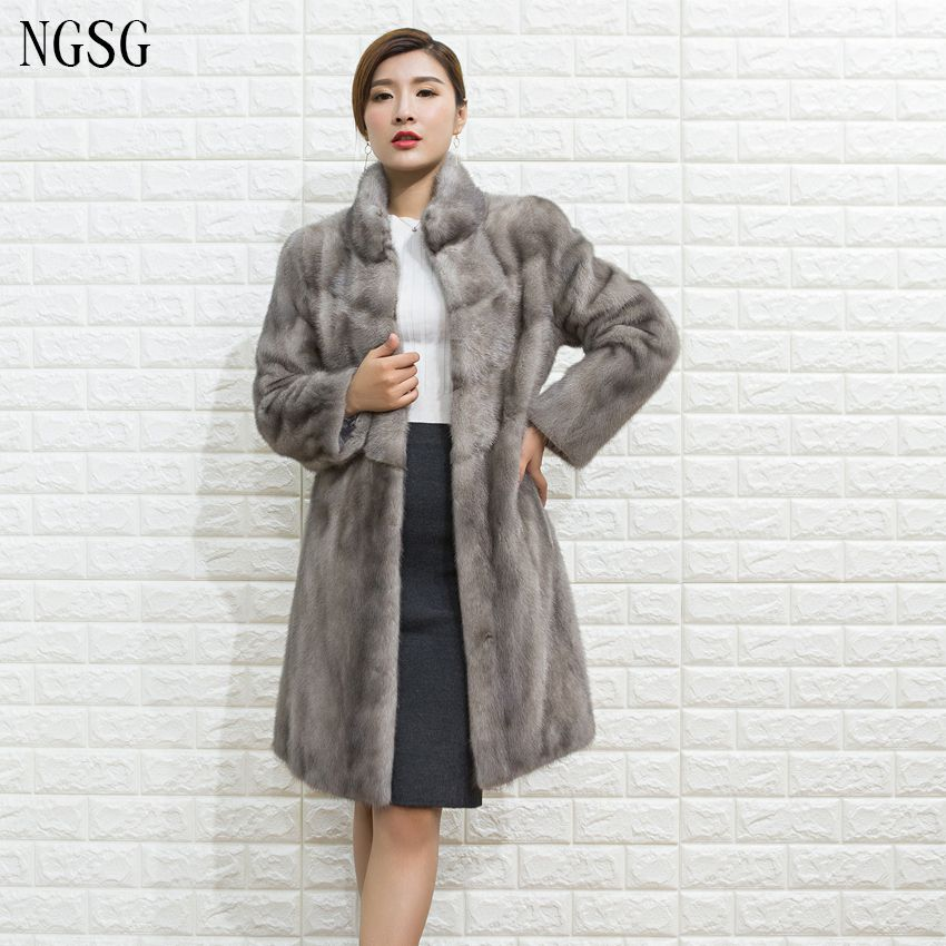 Pattern Real Fur Coat Genuine Mink Material Nine Quarter Popular ...