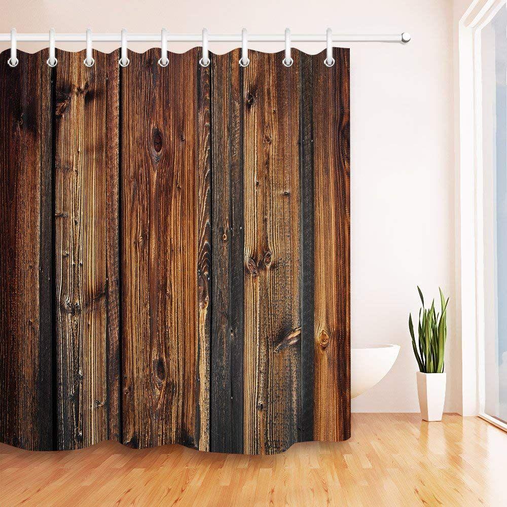 Amazon Com Lb Rustic Brown Wood Panel Shower Curtain Farmhouse