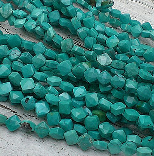 Turquoise Diamond Beads Faceted 6mm 22 pcs by royalmetals on Etsy, $9.95