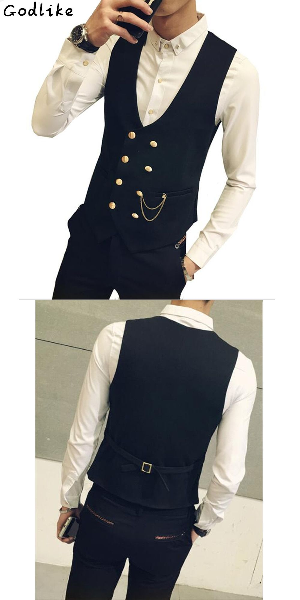 72b7391de86 2018 Mens vests And waistcoats Slim Fit Masculino Cotton Double Breasted  Sleeveless Jacket Waistcoat Suit Collar Men Suit Vest