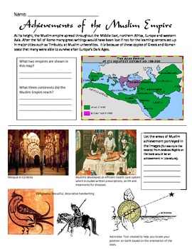 golden age of islam achievements worksheet golden age islam and worksheets. Black Bedroom Furniture Sets. Home Design Ideas