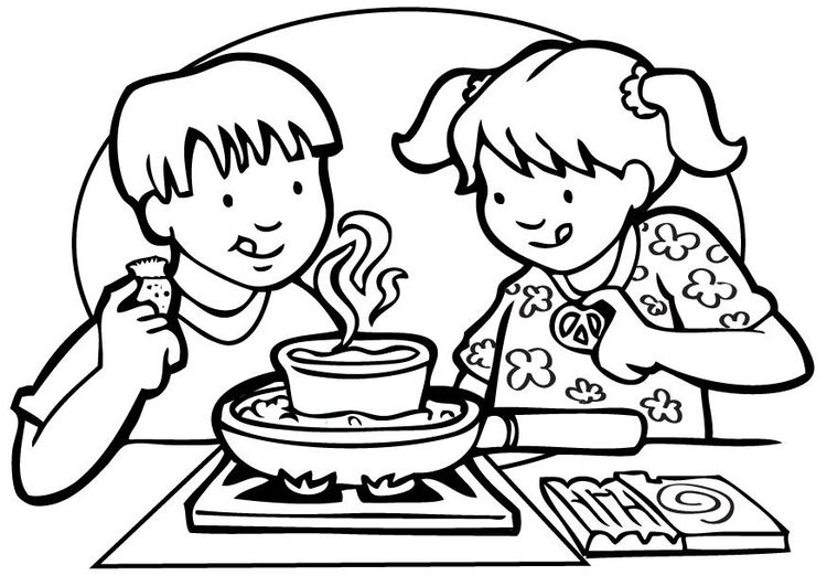 Coloring Page Cooking Coloriage Image Personnage Clipart