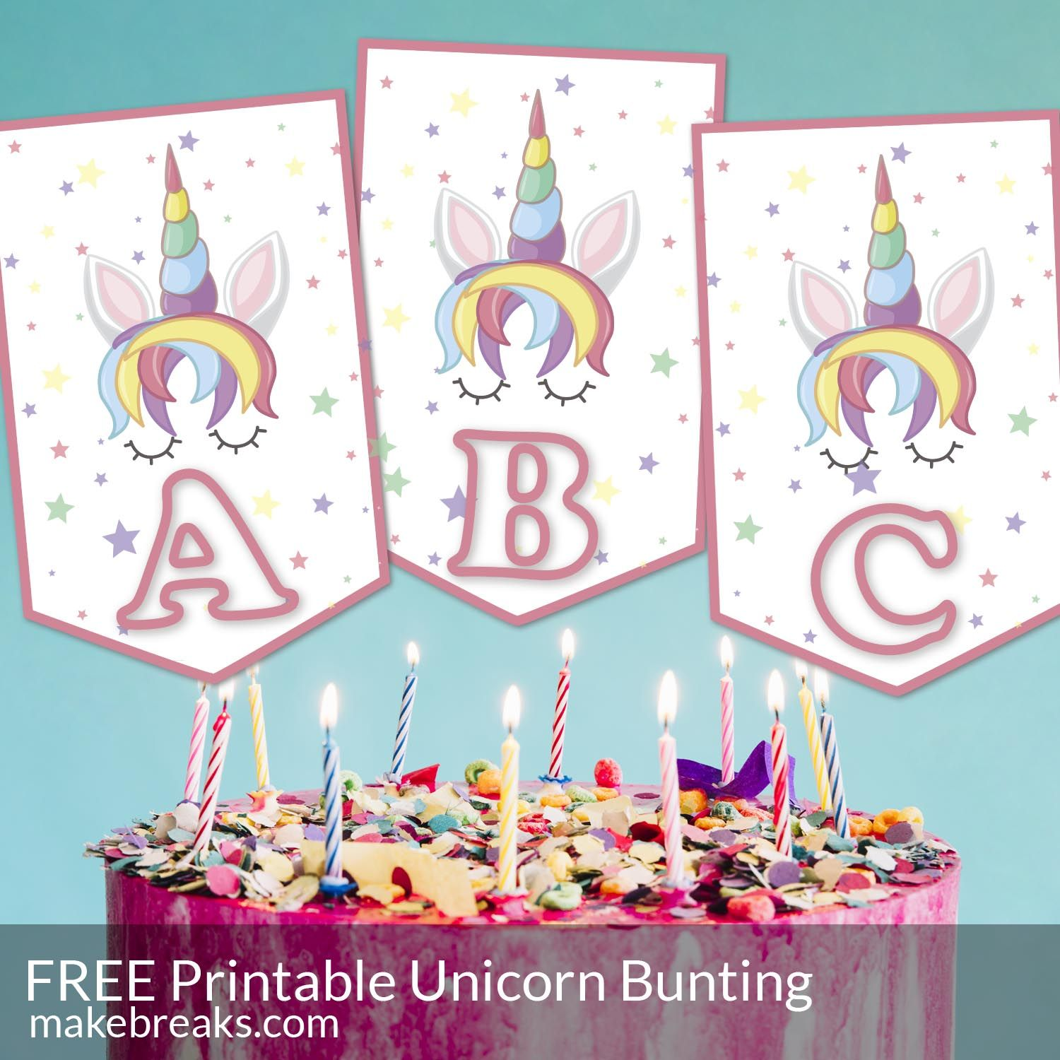 Unicorn Alphabet Bunting Template Make Breaks Bunting Template Happy Birthday Banner Printable Free Happy Birthday Printable