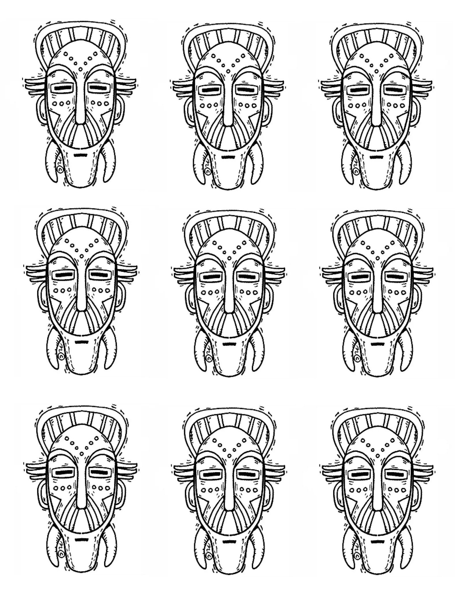 Free coloring page coloring-adult-africa-masks-identicals