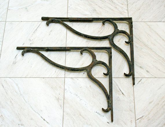 vintage iron brackets rustic shelf brackets wrought iron wall brackets. Black Bedroom Furniture Sets. Home Design Ideas