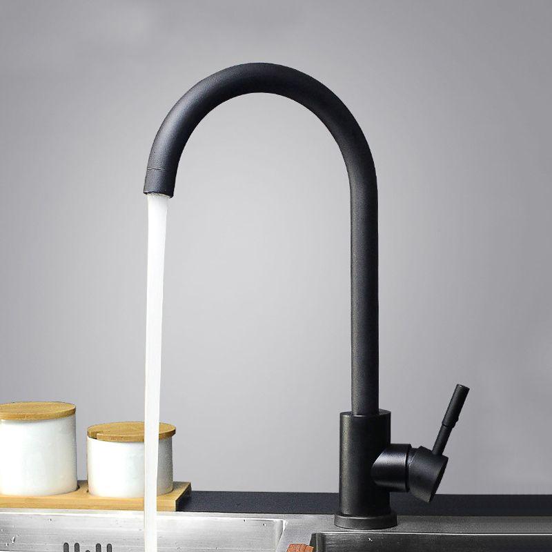 Kitchen Faucet Black Paint Stainless Steel Sink Vessel Tap 360