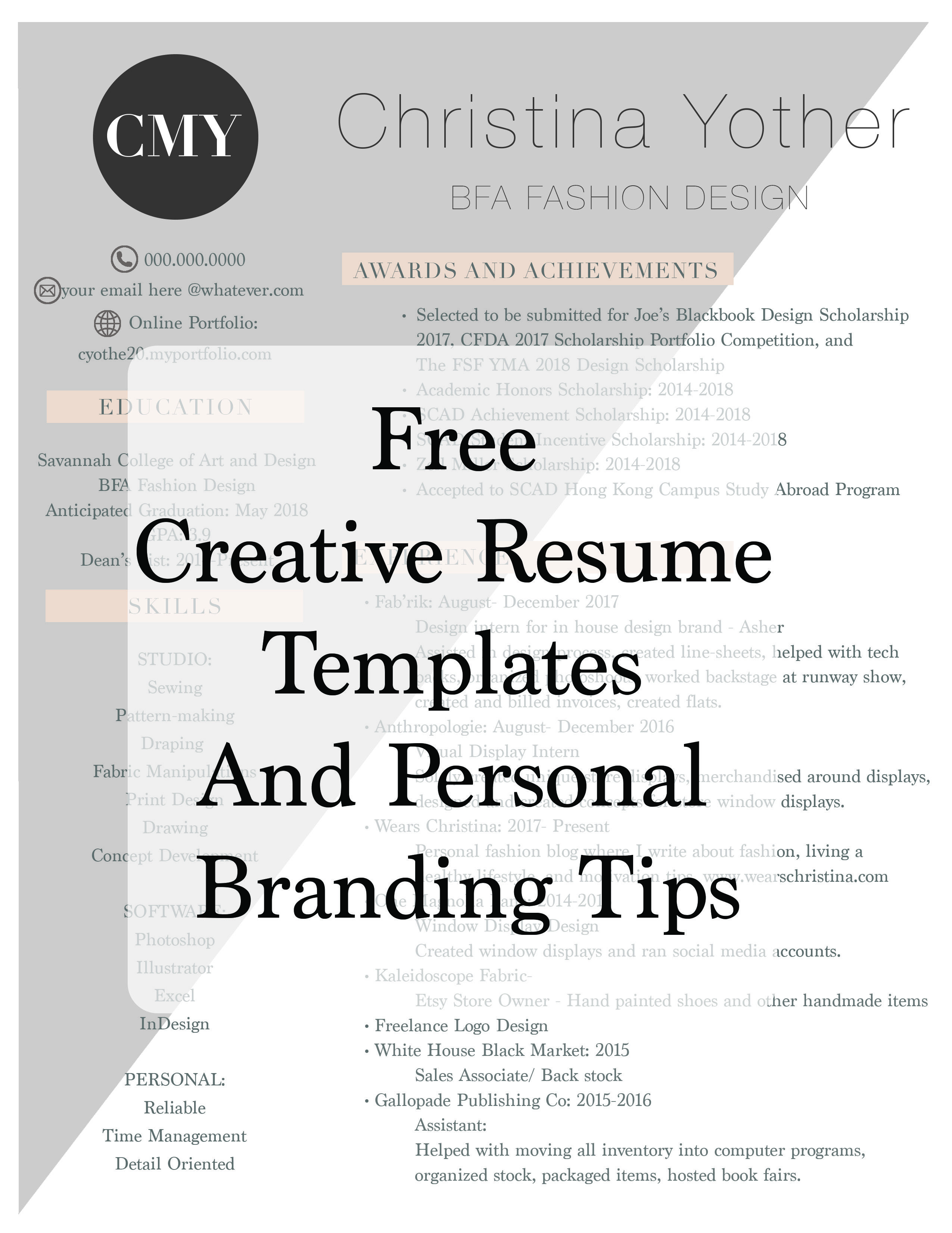 Free Creative Resume Templates And Personal Branding Tips How To