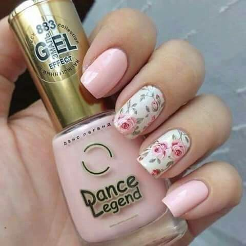 Simple and very pretty rose nail art design. The design looks very charming  with the pink roses painted over the white nail polish as background. - Pin By Alejandra Ugalde On Uñas Pinterest
