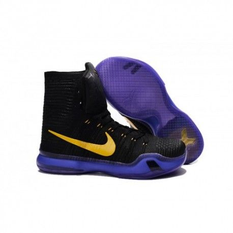The cheap Authentic Nike Kobe 10 Elite High Top Black Yellow Purple Shoes  factory store are awesome pair of shoes but it seems the super high top  design ...