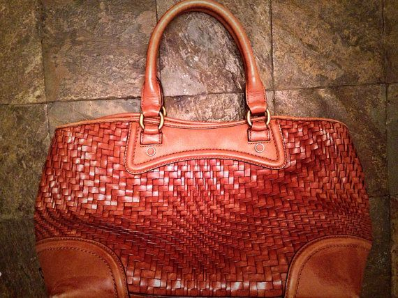 Cole Haan Genevieve Brown Leather Woven Bag By Devafashionandaccs