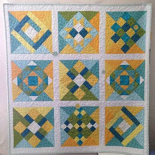 Sampler quilt finished for a resident where my son is a nurse.