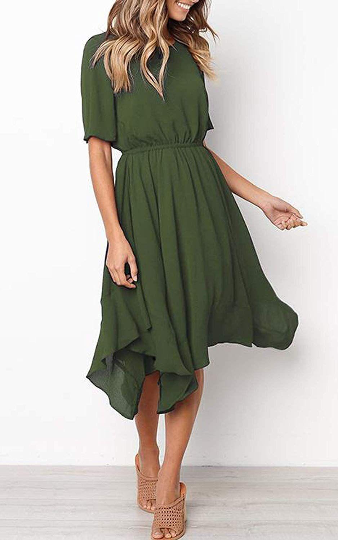 ECOWISH Damen Chiffon Kleider Asymmetrisch Sommerkleid Einfarbig
