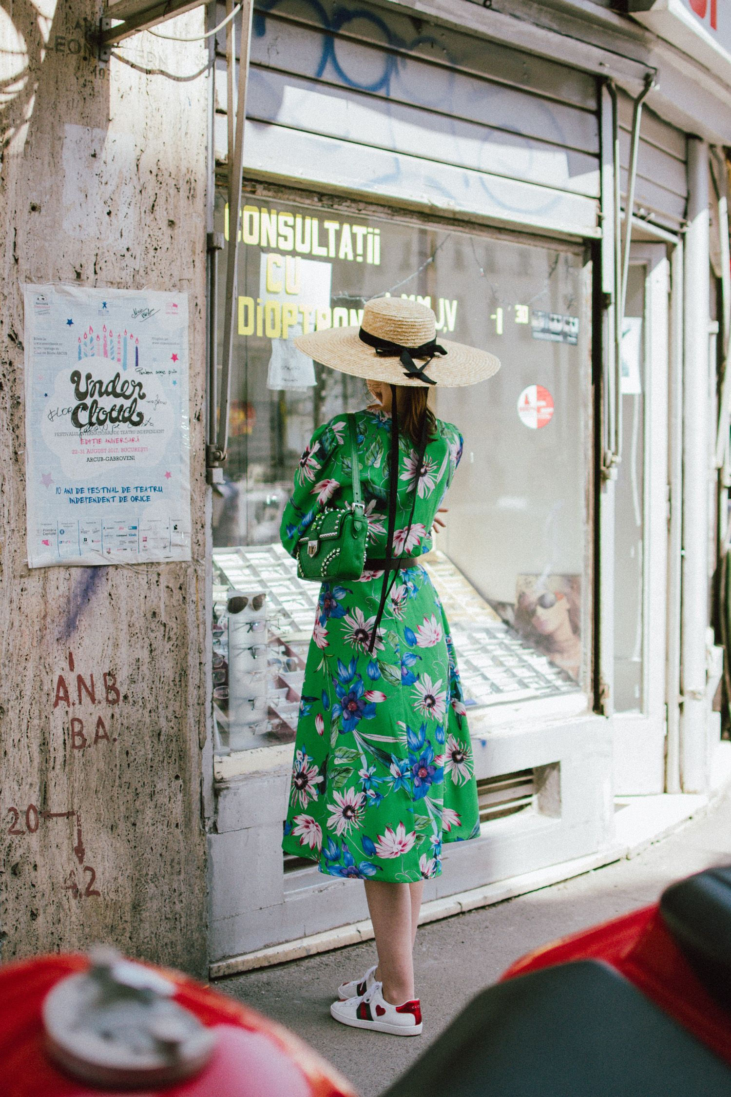 e35b69aed1afd Green midi floral dress, gucci ace heart embroidered sneakers, prada green  leather shoulder bag, mango big straw hat, andreea birsan, couturezilla, ...