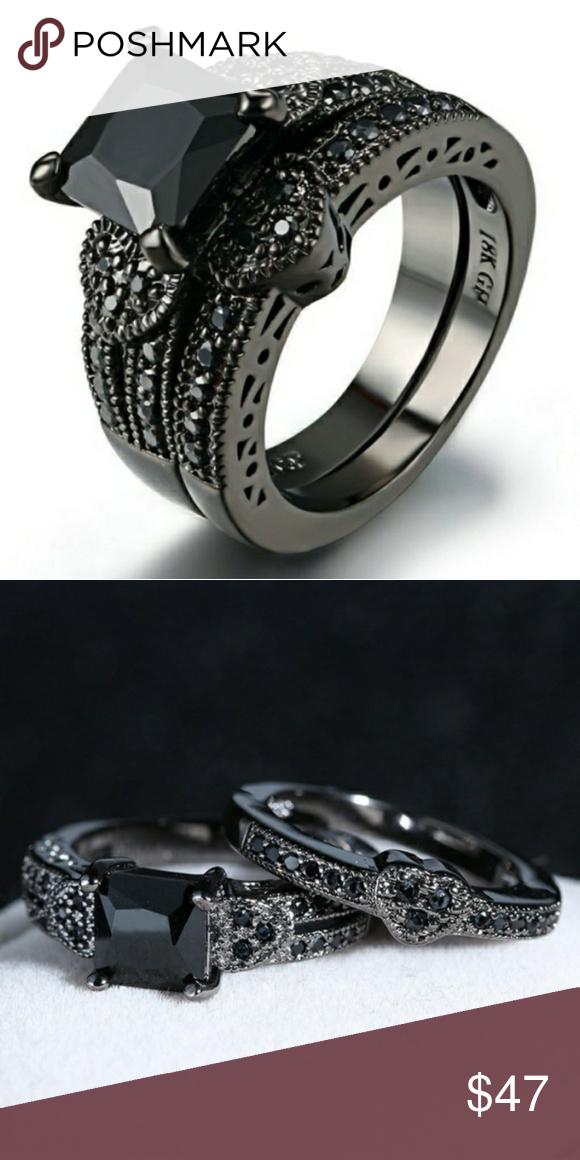 18k Black Gold Princess Black Sapphire Ring Set Comes In Gift Box
