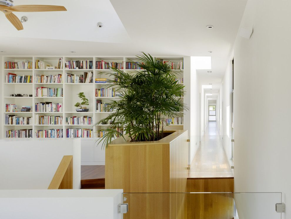 modern-planters-indoor-Hall-Modern-with-built-in-bookcase-built ...