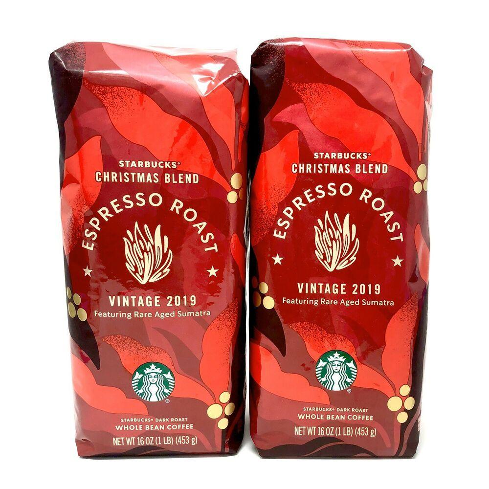 2 Starbucks Christmas Blend Espresso Roast Vintage 2019 Whole Bean Coffee 1 Lb Starbucks Coffee Bean Bags Starbucks Coffee Beans Starbucks Christmas
