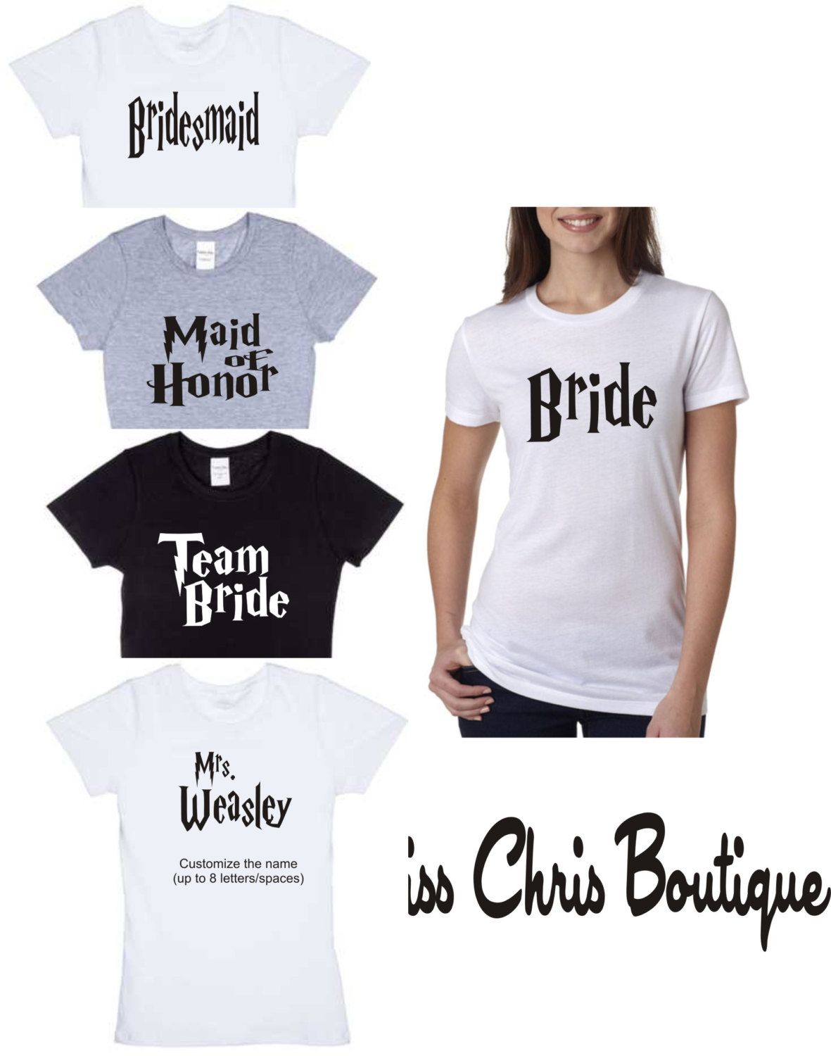 Harry Potter Shirt Bride Inspired Wedding Custom T Shirts Bridesmaid Funny Cool By Misschrisboutique On