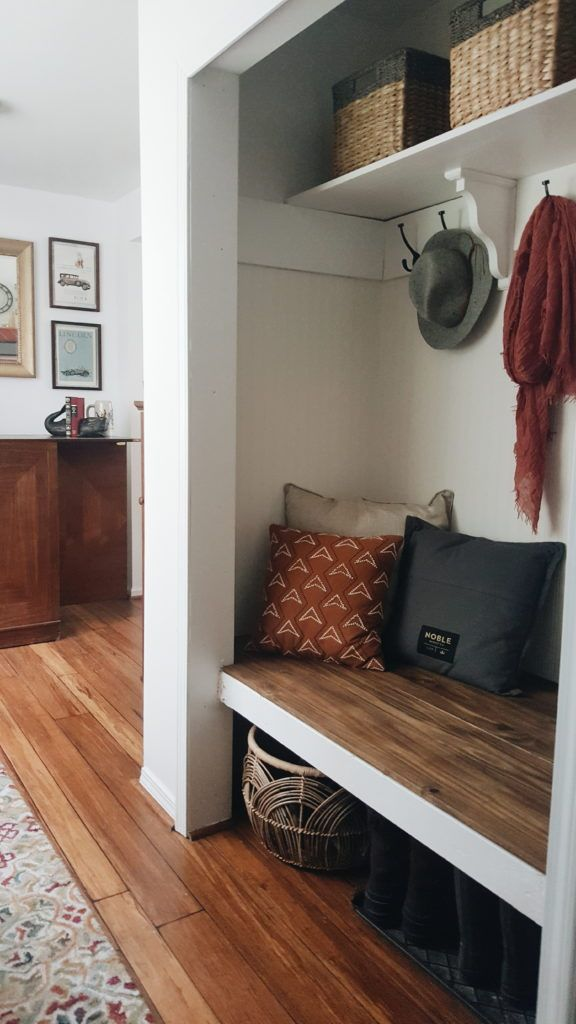 Hall Closet To Mudroom Space #diy_closet_bench
