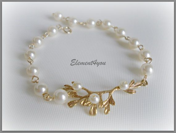Pearl Bracelet Bridal Jewelry Bridemsmaid Wedding by Element4you, $26.00