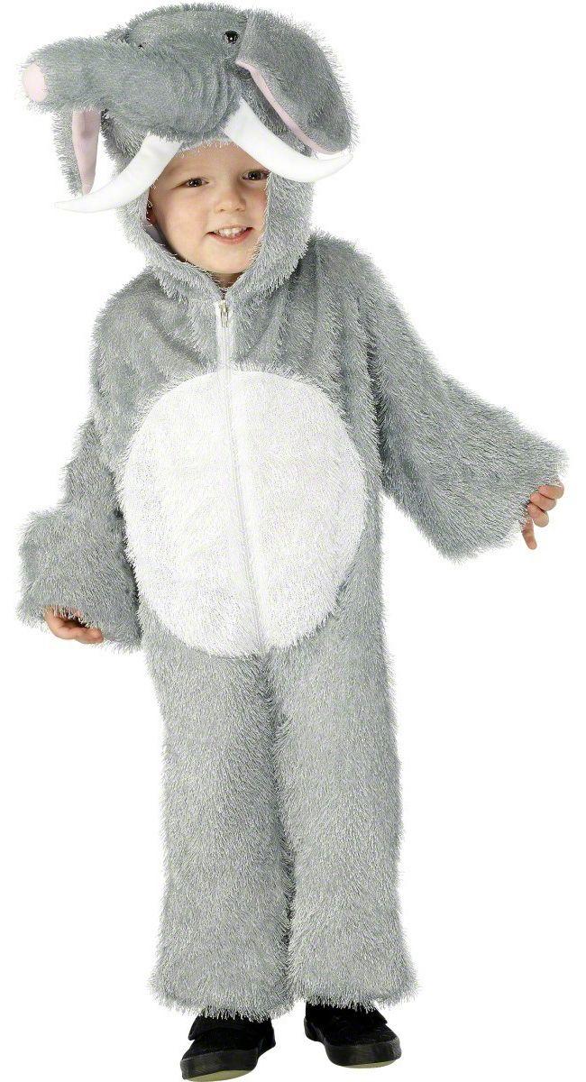 0f57ffcfa278 Disfraz de elefante para niño o niña que incluye traeje gris y la capucha.  La capucha es en forma de cabeza de elefante con trompa y colmillos  (zapatos no ...