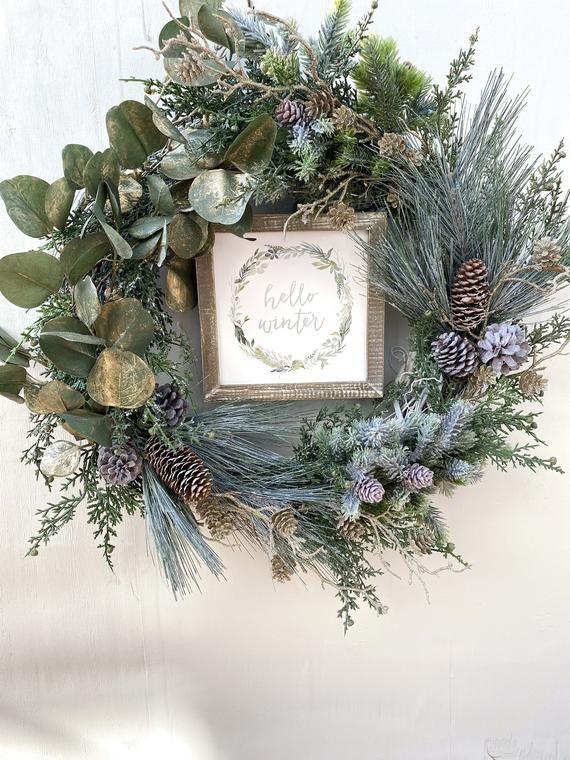 Photo of Winter evergreen wreath, Gold Christmas Wreath, Eucalyptus wreath, Frosted winter wreath, Evergreen Winter Wreath