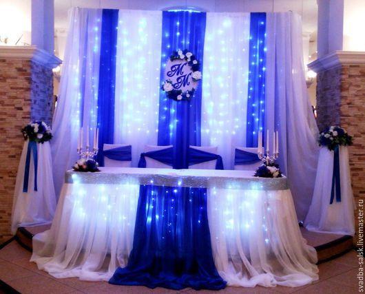 Украшение свадебного стола в синем цвете