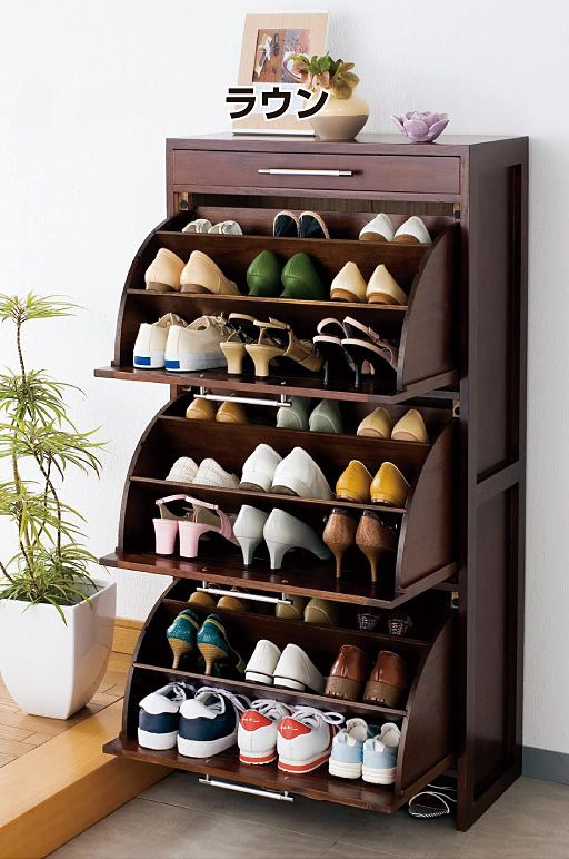 Solid Wood Rotating Shoe Rack Tipping Shoe Shoe Shoe Storage