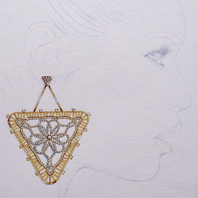 #jewelry #jewelrydesign #jewelryillustration #fashionillustration #design #details #diamond #illustration #earring #gold