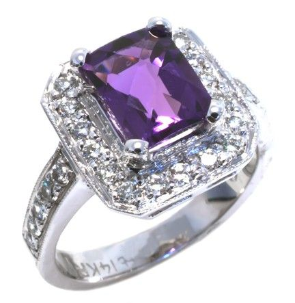 Amethyst and diamond ring 8x6mm emerald cut amethyst with 29 round diamonds 0.43ct tdw in 14k white gold | #purple #wedding #details