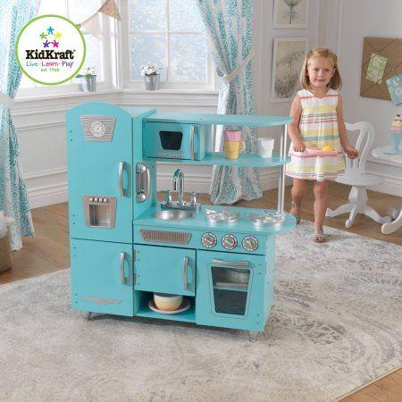 Kidkraft Vintage Wooden Play Kitchen Set Blue Walmart Com For