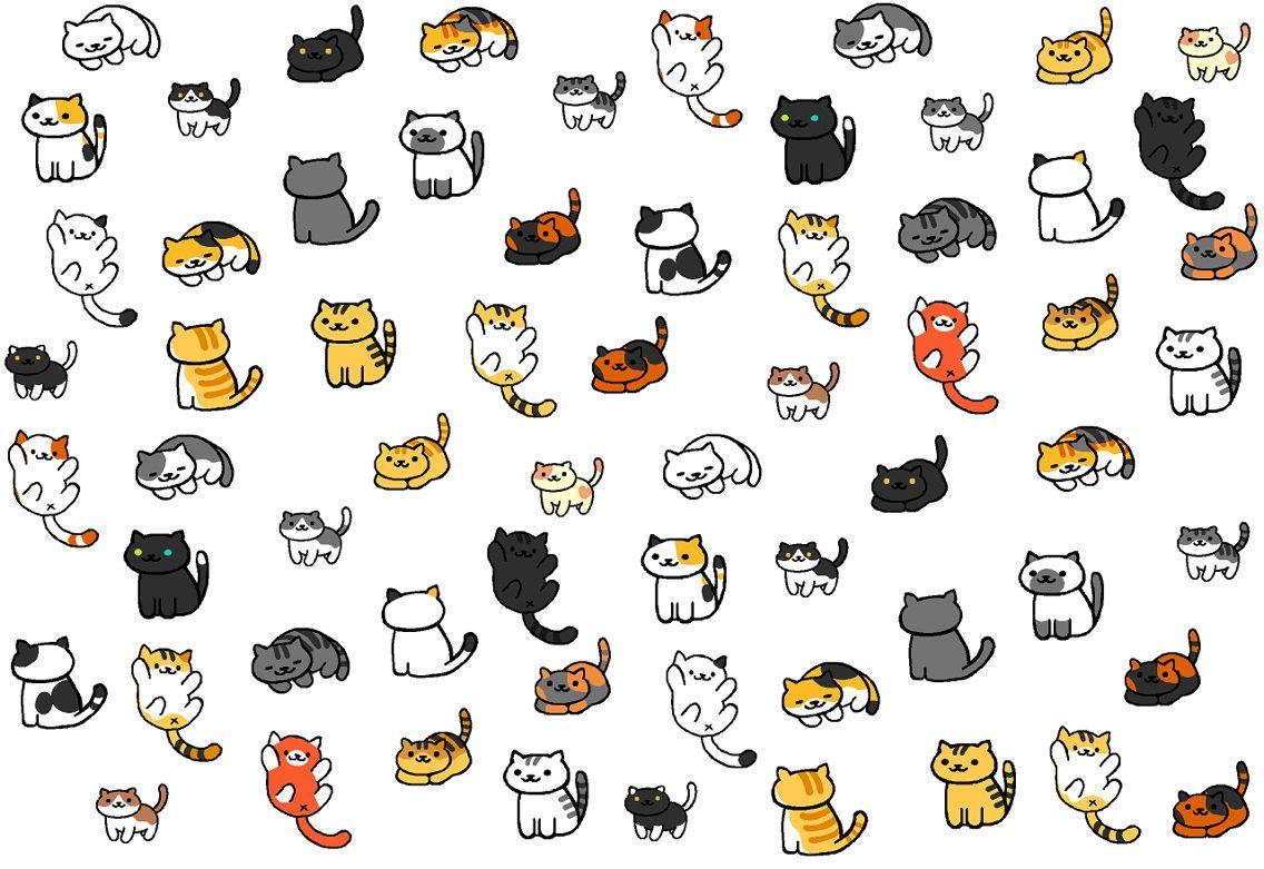 Neko Atsume phone wallpaper, by Reddit user SnipsKitten