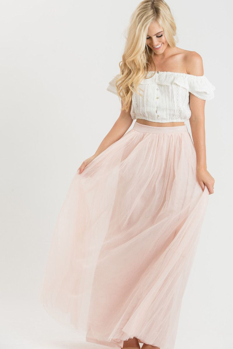 6d7ba0777564 Pink Tulle Maxi Skirt, Skirts for Bridesmaids, Wedding Style, Women's  Boutique