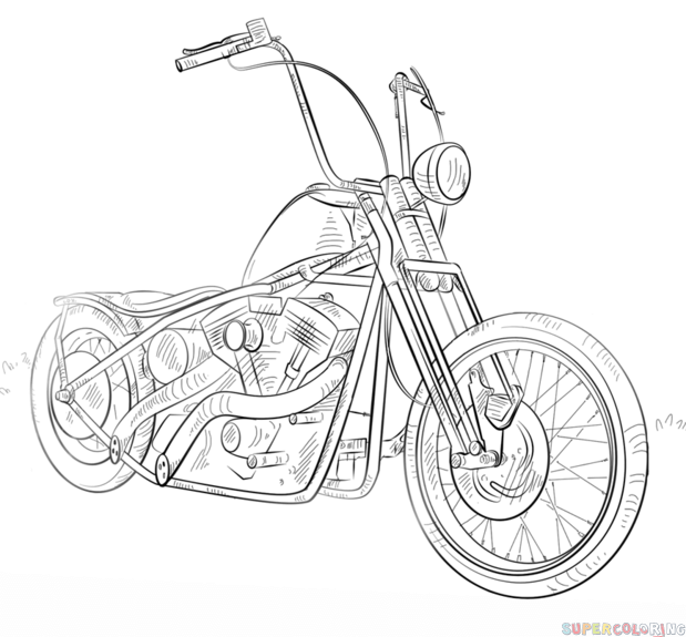 How To Draw A Chopper Bike Step By Step Drawing Tutorials For