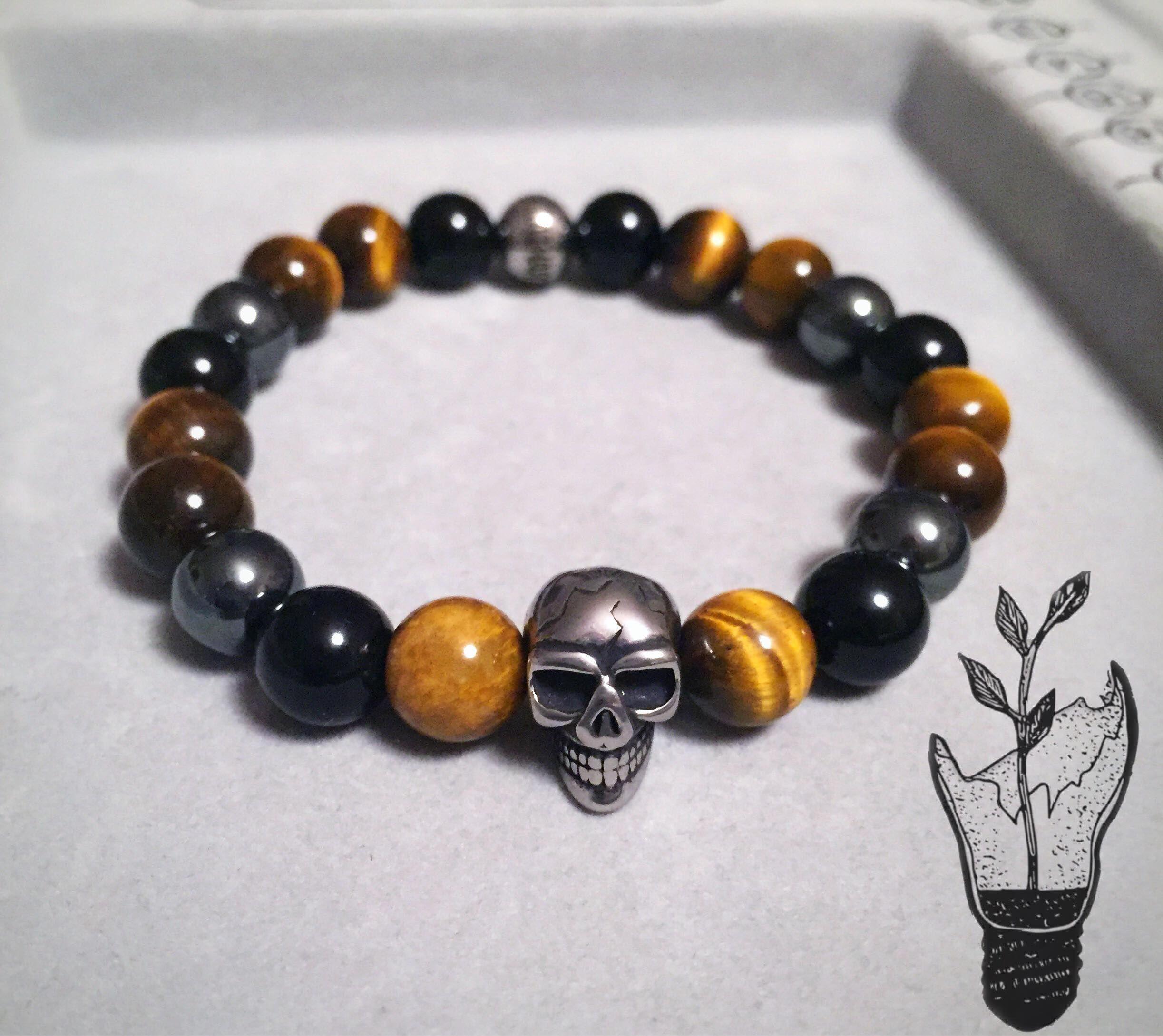 Homme Naturel Noir Lava Stone Rock Round Gemstone Bead Extensible Élastique Bracelets