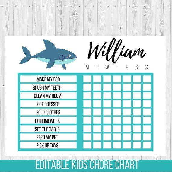 Editable Shark Chore Chart Printable