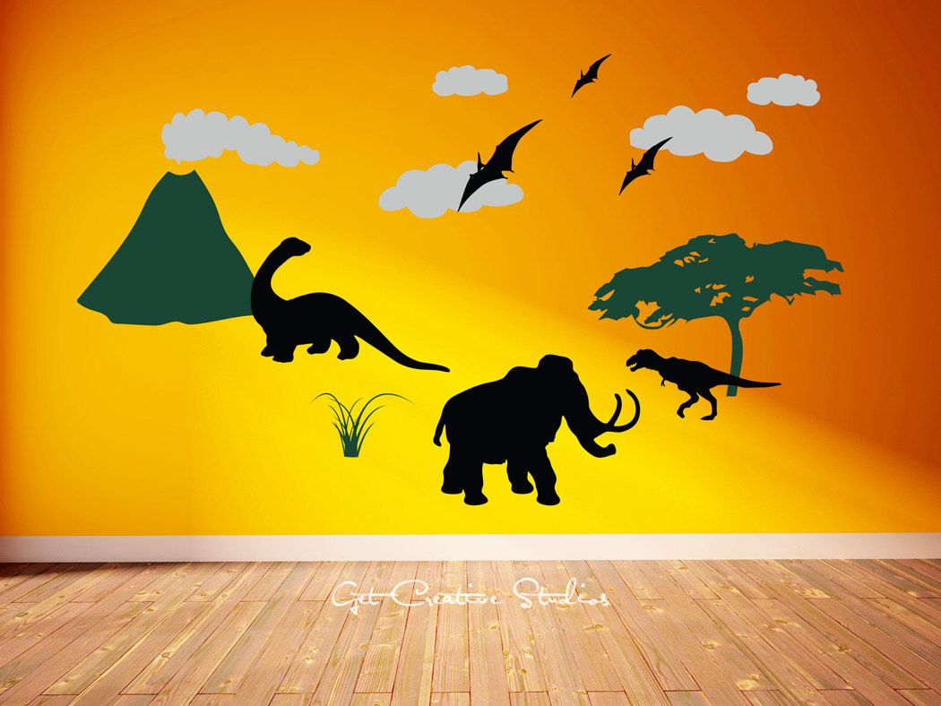 Dinosaur Decal Dinosaurs Wall Decal Mural Volcano Decal Pterodactyl ...