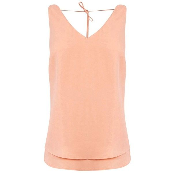 Oasis V Front and Back Cami Top, Soft Orange (£26) ❤ liked on Polyvore featuring tops, v neck tank, summer tank tops, red top, red tank top and sleeveless tank tops