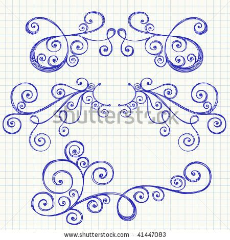 HandDrawn Abstract Sketchy Swirl Doodles On Grid Graph Notebook