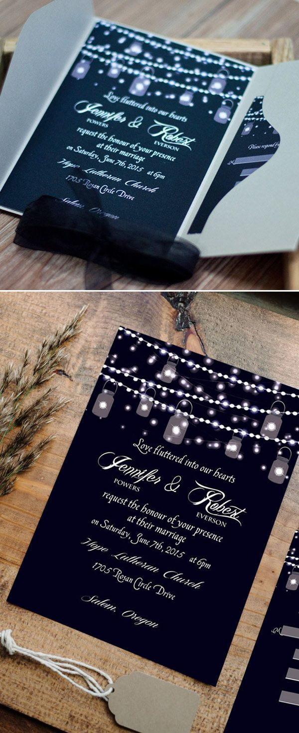 String Lights Backyard Wedding Ideas Inspired Rustic Pocket Invitations With Free Rsvp Cards And Envelopes
