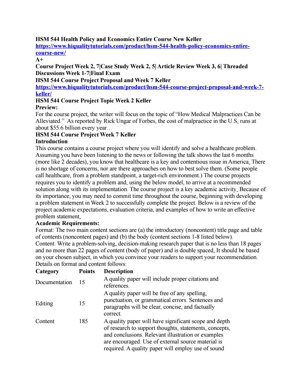 Hsm 544 health policy and economics entire course new