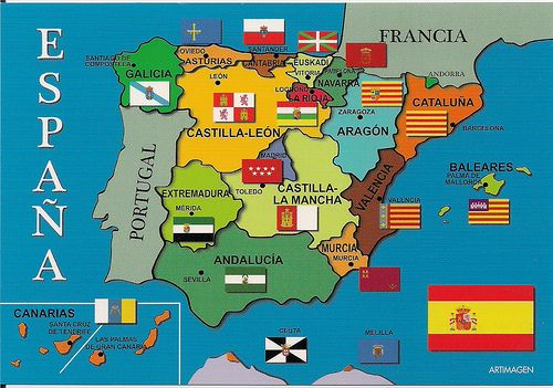 Mapa cultural de España: Banderas regionales