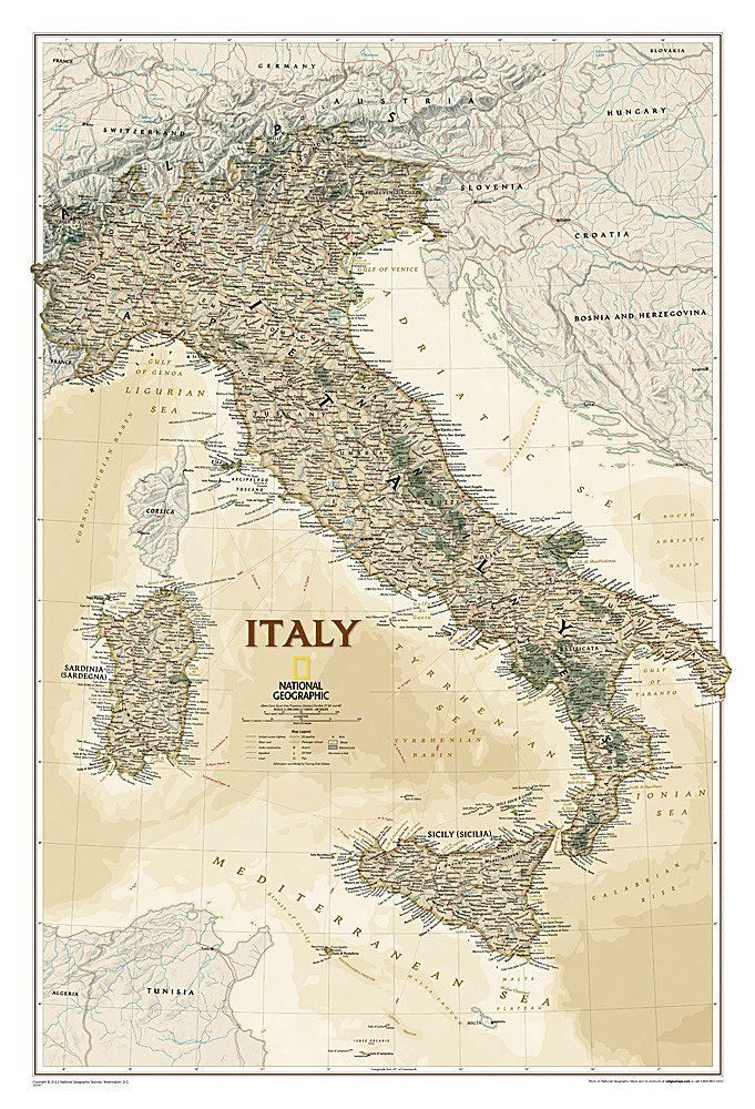 Buy map: Italy, Executive, Laminated by National Geographic Maps