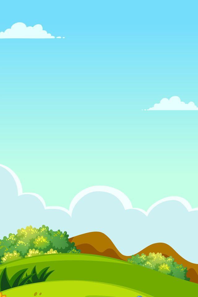 Blue Sky White Clouds Hill Cartoon