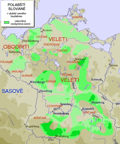 Polabian Slavic Tribes Green Is Uninhabited Forested Area West